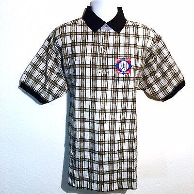 reputable site b4e15 e4698 NEW Babe Ruth Baseball Men's Medium Embroidered Golf Polo Shirt Brown Plaid  NWT   eBay