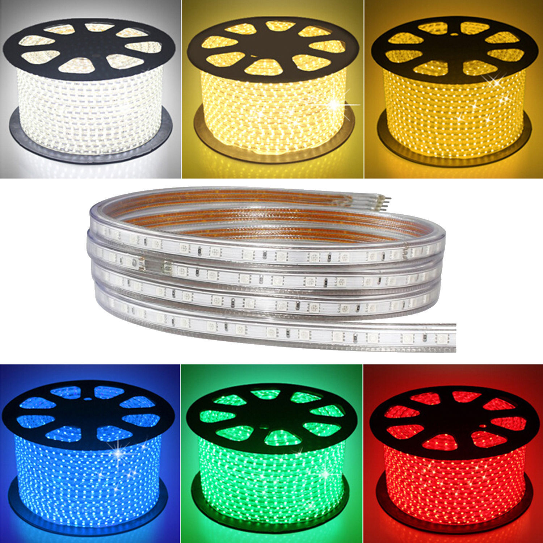 1-50 M 5050 SMD Tira de Luz 60LED 110 V 220 V IP67 impermeable flexible de alto voltaje