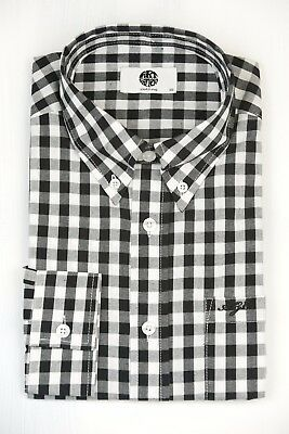 Art Gallery Clothing Red Check M  Mod Sixties Long Sleeve Fitted Shirt