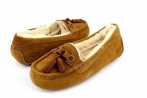 2577bac88cd UGG LITNEY SUEDE SHEARLING CHESTNUT FULLY LINED SLIPPERS SIZE 7 US ...