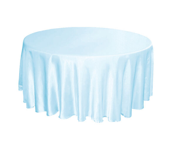 "LOT of 10 LIGHT BABY BLUE SATIN  120"" ROUND TABLECLOTHS WEDDING BANQUET"
