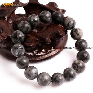 "Natural Stone Rainbow Black Labrador Beads Healing Beaded Stretch Bracelet 7"""