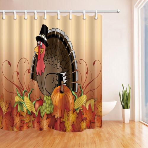 Thanksgiving pumpkin and turkey Waterproof Shower Curtain Plastic Hooks 71 inch