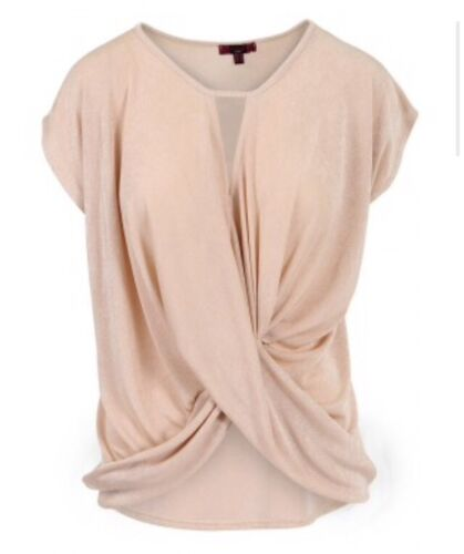 NEW WOMENS LADIES KNOTTED TWIST SLINKY CREPE V NECK DETAIL WRAP OVER DRAPE TOP