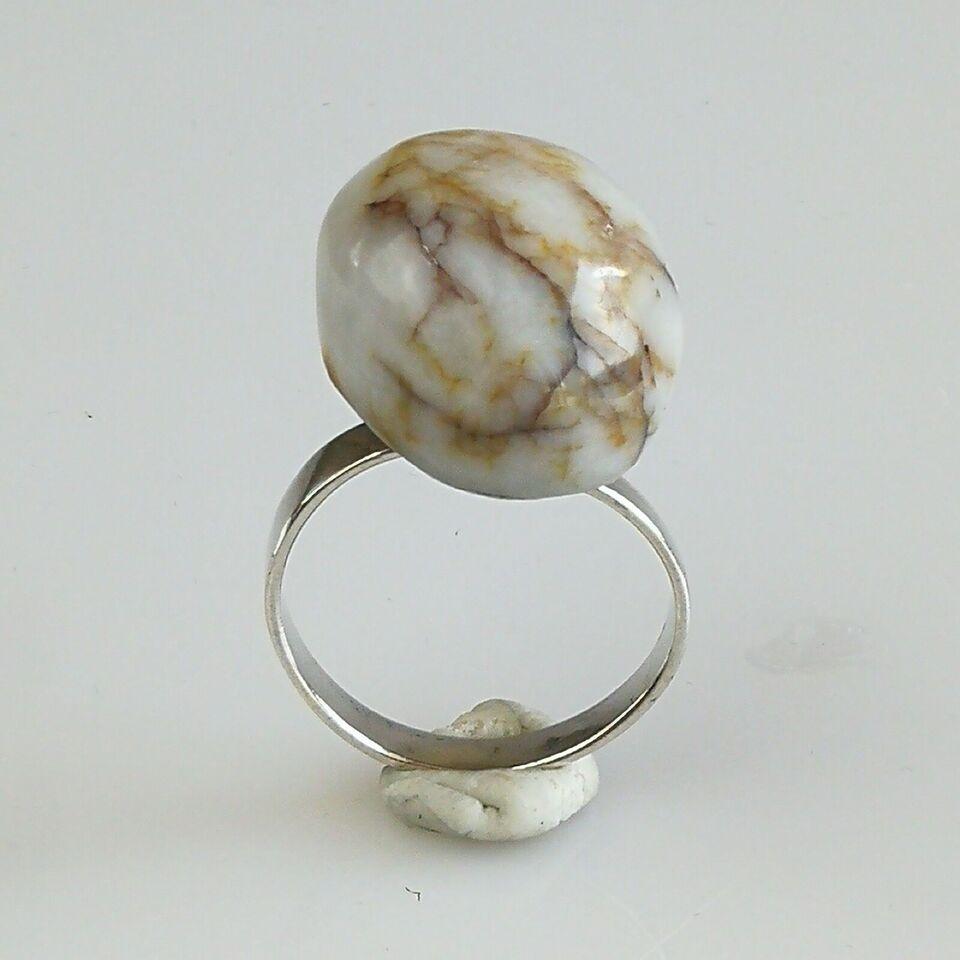 Ring, sølv, Sun-gemm sølv ring med stor sten