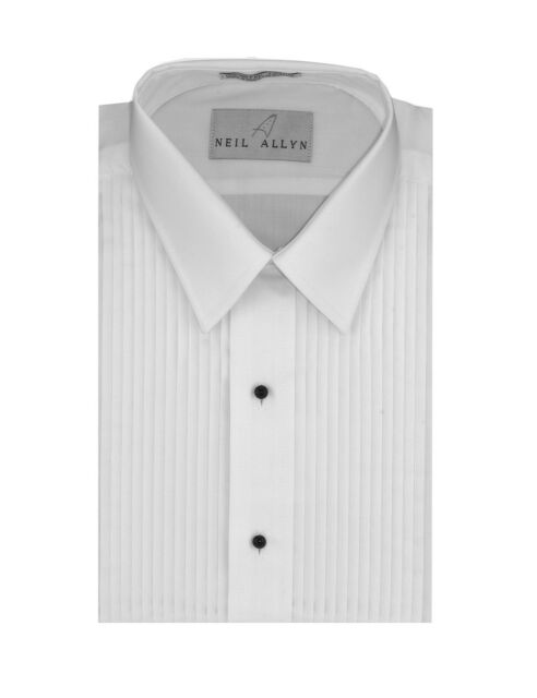 """NEW Men/'s White 3//4/""""  Lay down Spread Collar Pleated Tuxedo Shirt French Cuffs"""