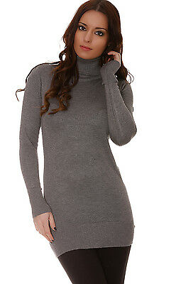 superbe pull long col roule gris