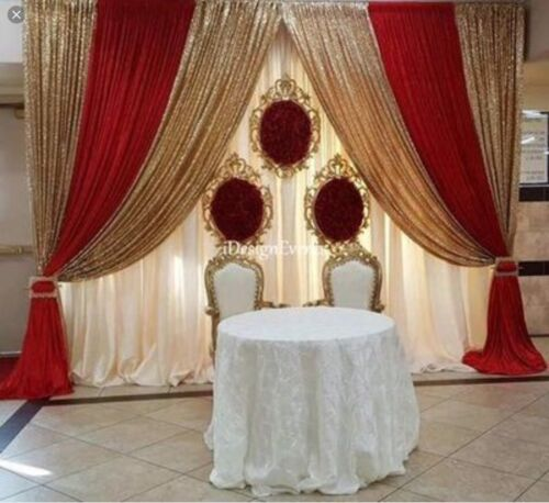 CHIFFON SHEER AND Confetti SEQUIN DRAPES PANELS BACKDROP CURTAIN WEDDING PARTY