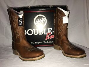 Double-H-Men-039-s-Brown-12IN-Gel-Square-Toe-Western-Work-Boots-DH4628-NIB