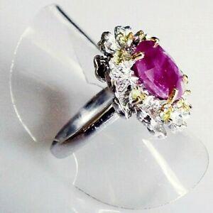 Handarbeit Oval Rubin Peridot Cocktail Damen Ring 925 Silber Gelbgold 18,1 mm 57
