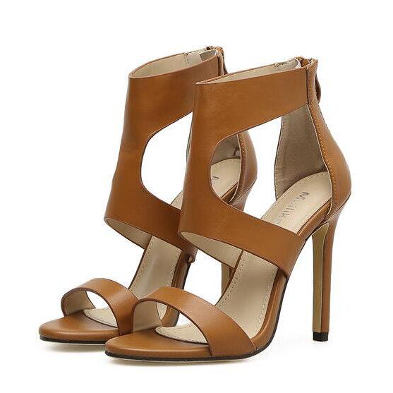 Sandalen Elegant Absatz Stilett 11 cm Beige Komfortabel Leder Kunststoff 9772