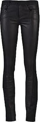 Helmut Lang Black Rinsed Leather Jersey Combo Skinny Pants Leggings $495 NWT