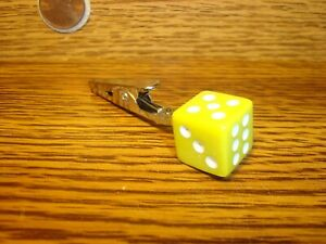 #1 Dice design Tobacco-Herb Roach Clip Yellow-White $1.35 SPECIAL STORE SALE !