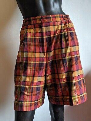 Puntuale Vintage Estate Vita Alta Pantaloncini 14 Check Tartan Su Misura Androgino-mostra Il Titolo Originale