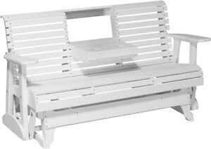 Outstanding Details About Outdoor Poly Lumber 5 Ft Rollback Porch Glider Bench White Recycled Plastic Creativecarmelina Interior Chair Design Creativecarmelinacom