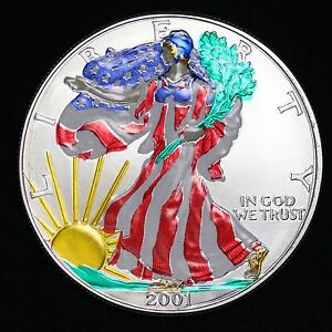 Painted Colorized 2001 American Silver Eagle Dollar 999