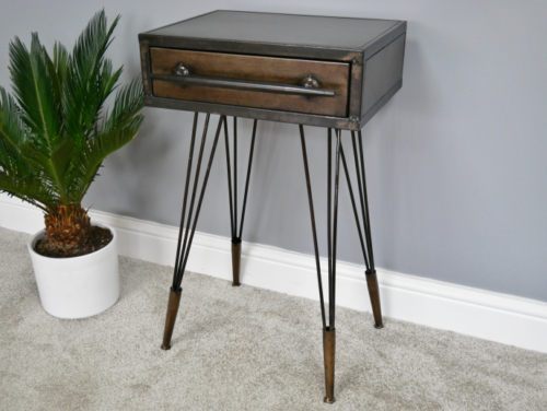 new styles d0506 334d3 Details about Industrial vintage style metal bedside side table steampunk  storage cabinet