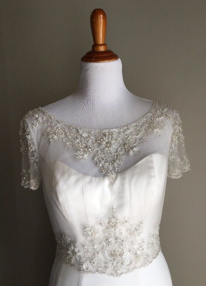 - Casablanca Bridal Sheer Tulle Bead Crop Top Two Piece Blouse Dress Cover