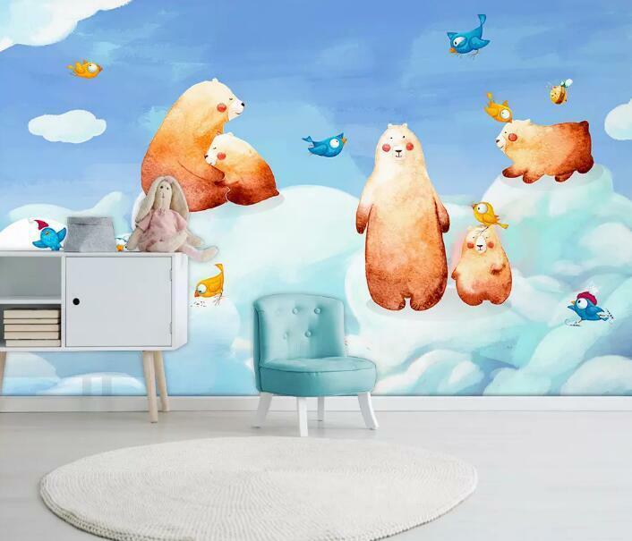 3D Braunbär Wolke H2422 Tapete Wandbild Selbstklebend Abnehmbare Aufkleber Wend