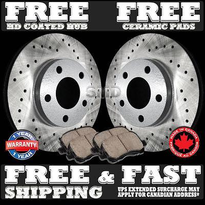FRONT+REAR SET Z0667 Performance Cross Drilled Brake Rotors /& Ceramic Pads