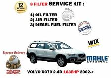 FOR VOLVO XC70 2.4D DIESEL 163bhp 8/2002-> OIL AIR FUEL 3 FILTER SERVICE KIT