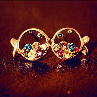Women Elegant Multicolour Hollow out Fish Crystal Rhinestone Ear Stud Earring