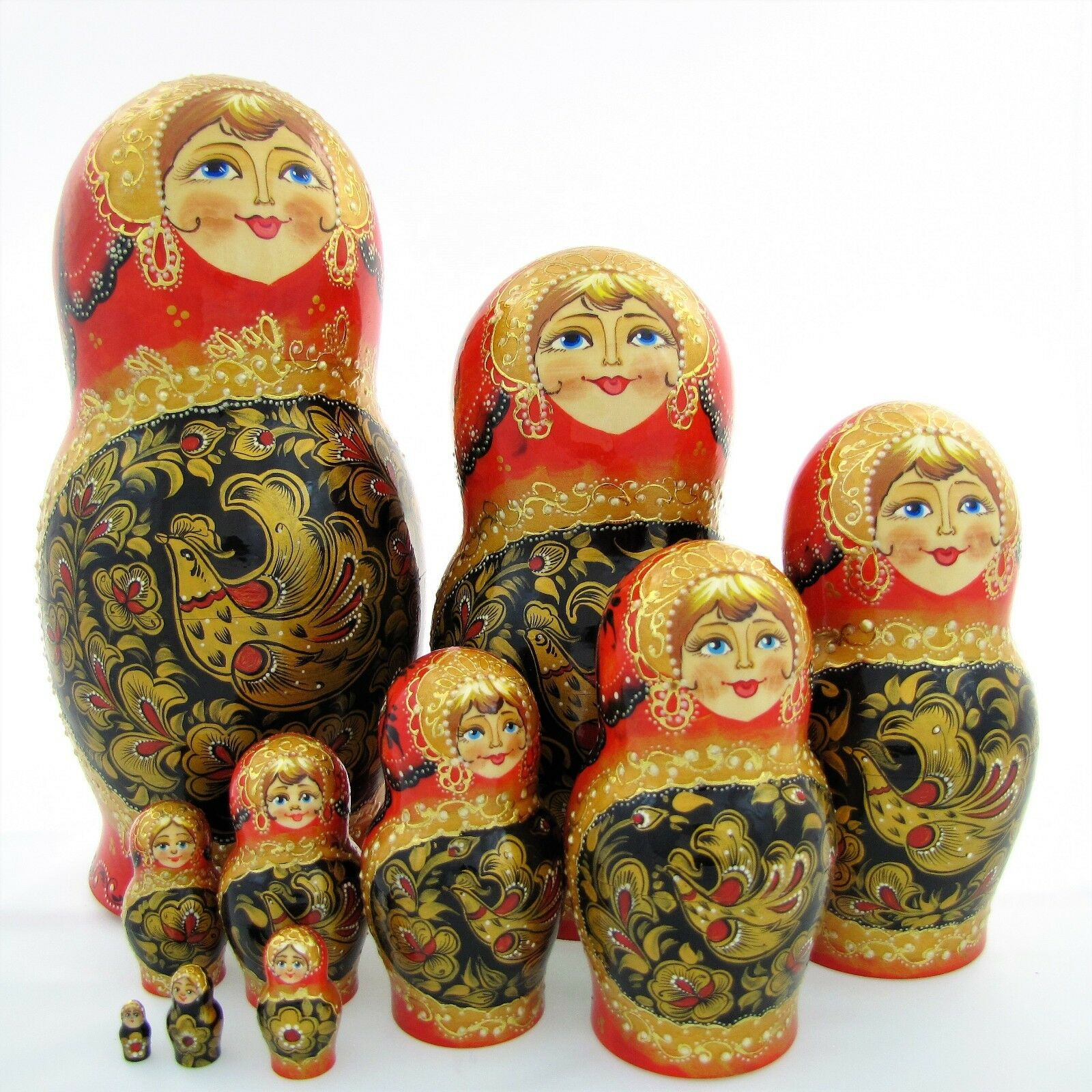 10 Poupées russe H32 Matriochka peint main signé Russian Nested Doll Matrioshka