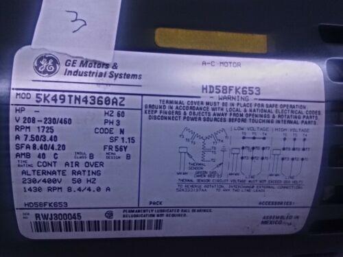 GE 5K49TN4360AZ 2HP 1725 RPM Trane electric motor 208-230//460 hd58fk653