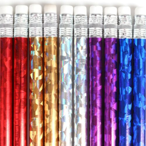 ERASERS Sparkle Glitter Grey Lead Writing Drawing 20x HOLOGRAPHIC WRAP PENCILS