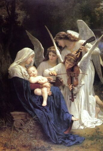Song of the Angels by William Bouguereau Large Baby Jesus Textured Poster Print