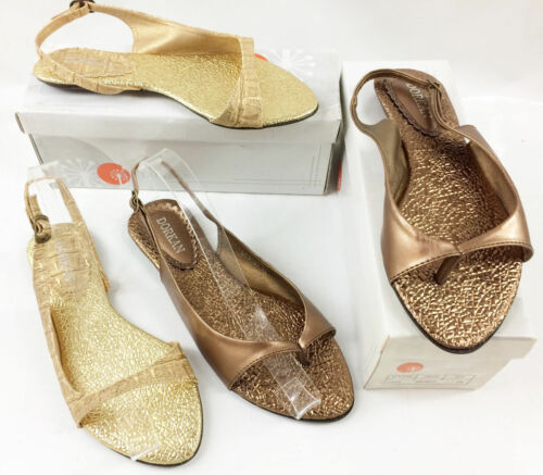 Damen Slipper Sandalen Schuhe Gold Bronze