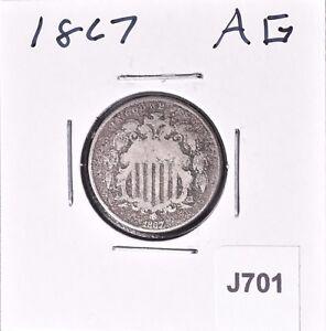 1867-Shield-Nickel-5C-AG-034-No-Rays-034-J701