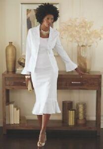 e175dc0364c Ashro Formal Dress Whtie Denim Embellished 3 Pc Skirt Suit Set Size ...