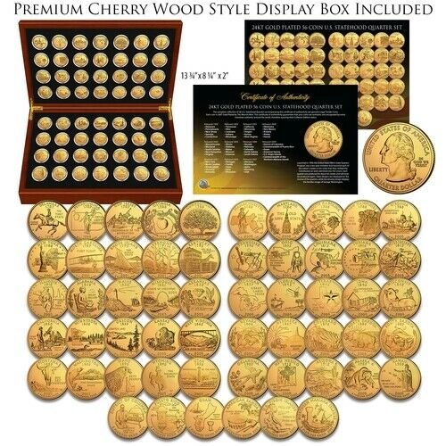 1999-2009 Complete 24K GOLD Plated Statehood Quarter 56-Coin Set Cherry Wood Box