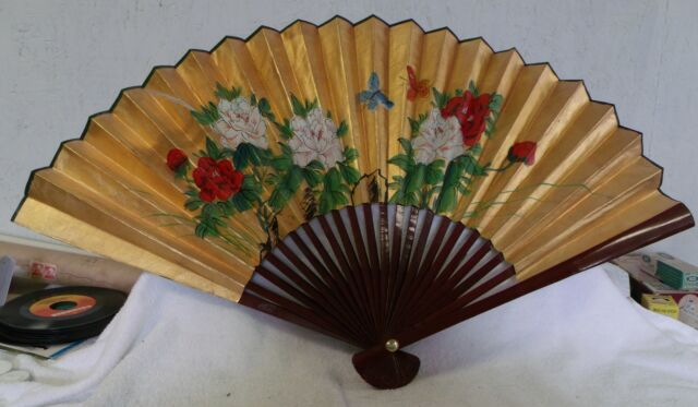 "LARGE 21"" x 36"" VINTAGE CHINESE SILK SCREEN FAN ORIENTAL ASIAN--GREAT PATINA!"