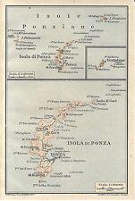 Carta geografica antica ISOLA DI PONZA e Ponziane TCI 1928 Old antique map