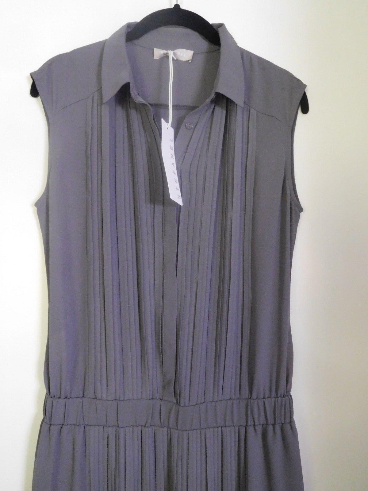 STEFANEL Kleid lang grau Plissee Plisse Maxikleid Sommerkleid Gr. S  NEU