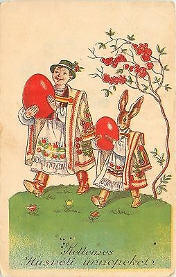 Fantasy Easter~Hungarian Costume Dressed Rabbit~Walks With Boy~Red Eggs~1938 PC