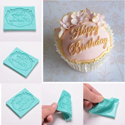 Happy Birthday Silicone Cake Fondant Mould Decorating Chocolate Baking Mold SG