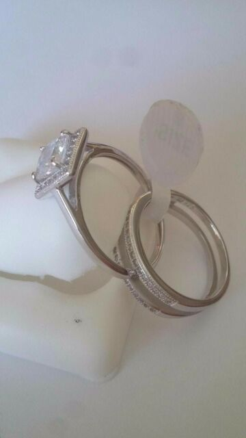 New ladies Fancy .925 Sterling Silver cocktail Ring Cz Stones Size 8 double band