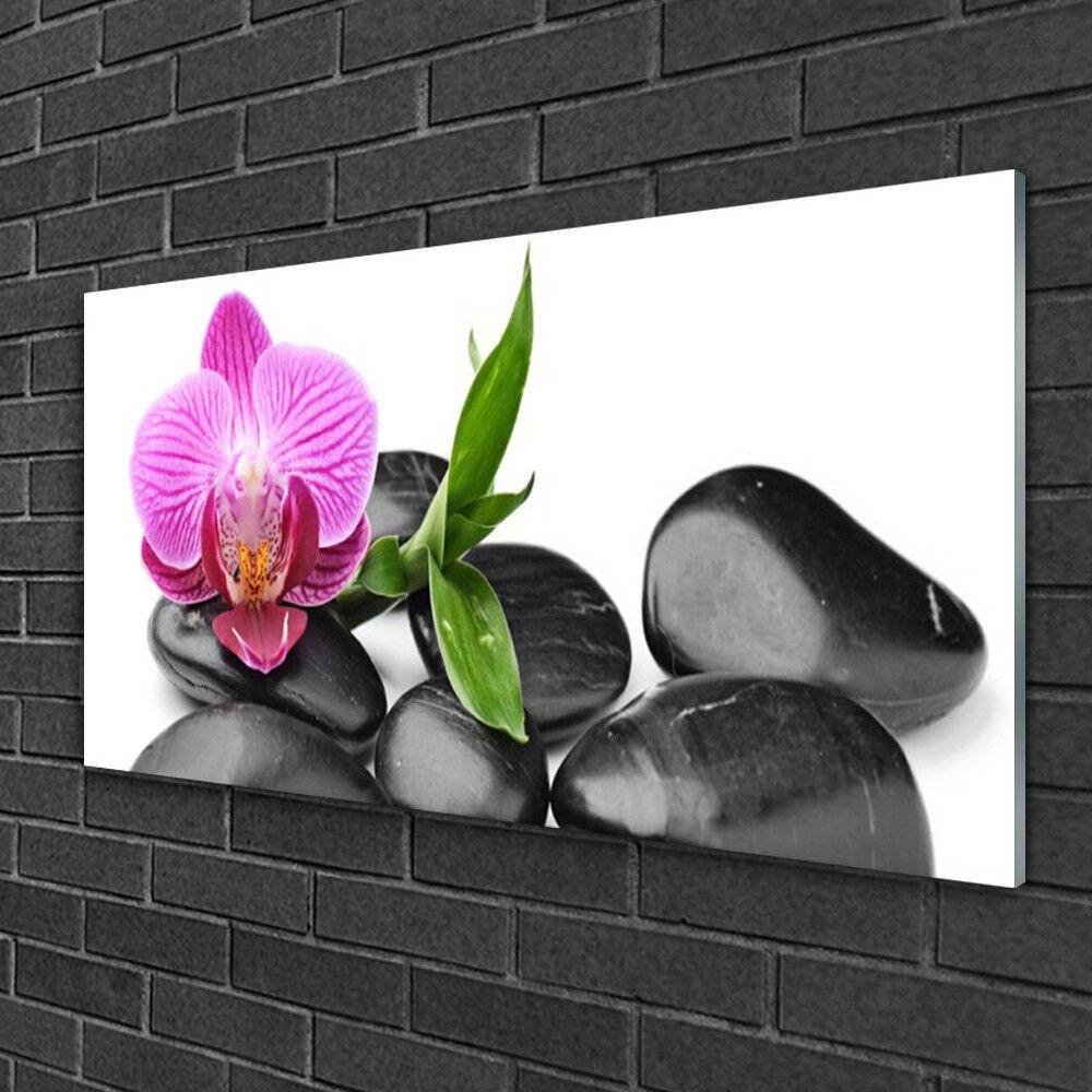 Image sur verre Tableau Impression 100x50 Art Pierres Fleurs