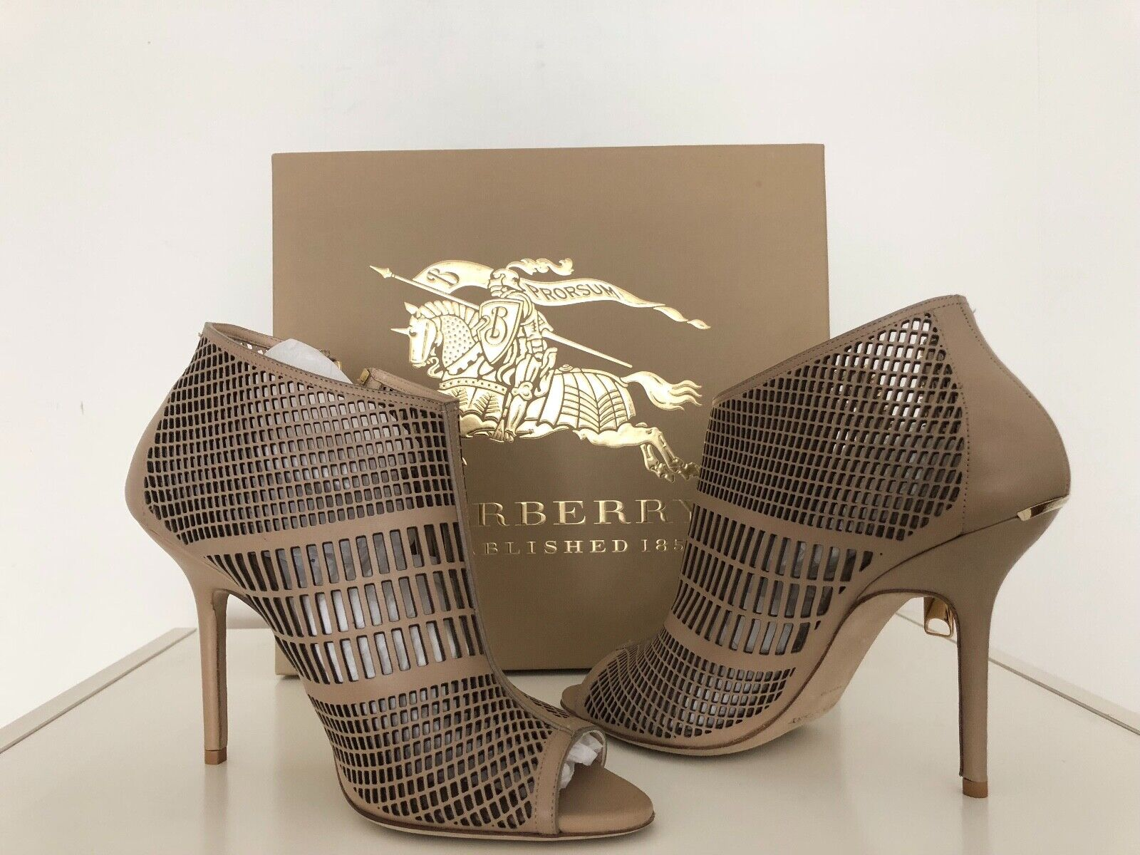BRAND NEW Burberry light nude Barmby Peep Toe Ankle Boots with gold tone hardwar