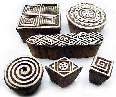 6 x Holzstempel Keramik Töpfern Textilstempel Henna Stempelset NEU