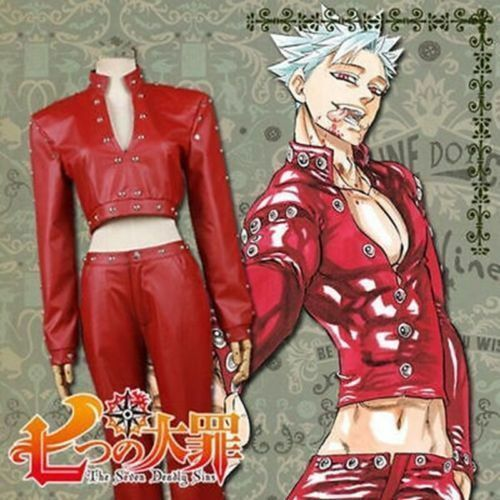 The Seven Deadly Sins Fox/'s Sin of Greed Ban Top Pant Cosplay Costume Full Set