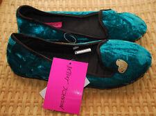 Betsey Johnson Slippers L 9/10 Faux Fur Velvet Silver Heart NWT $34 Green Black