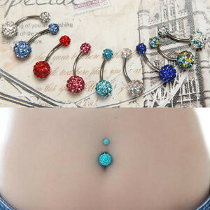 Details About Navel Belly Button Ring Barbell Rhinestone Crystal Ball Piercing Body Jewelry