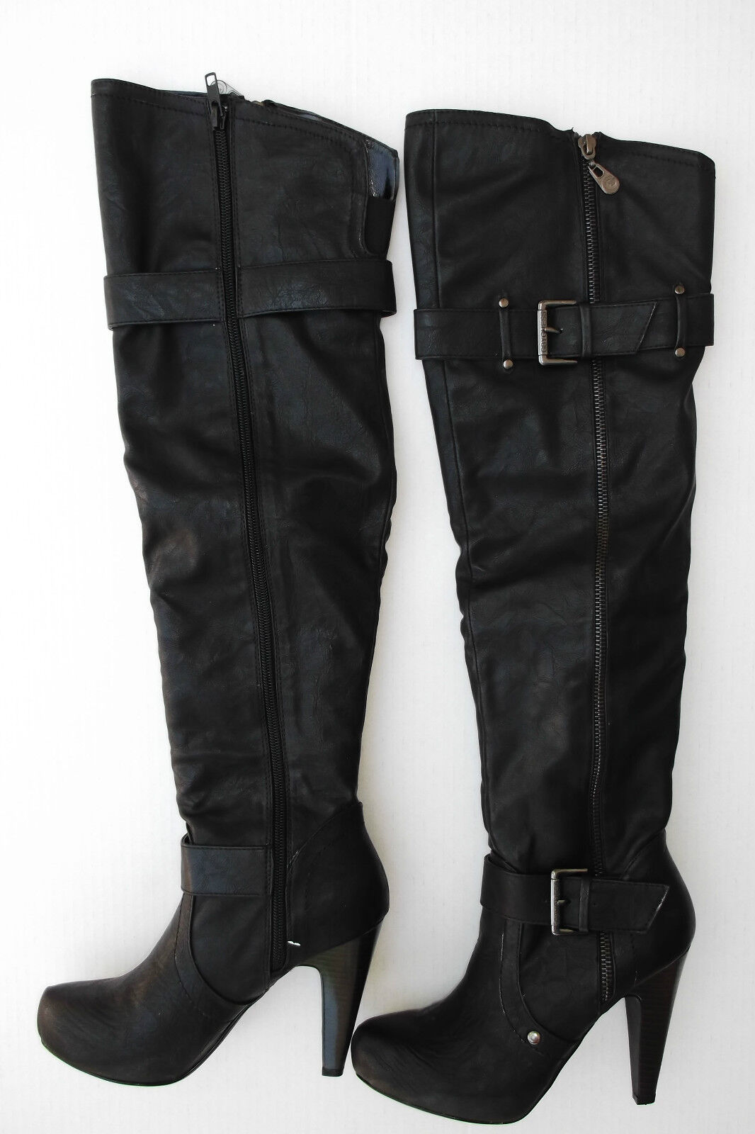 GUESS GGTARMATIC BLACK PLATFORM OVER THE KNEE BOOTS SIZE 5.0M NEW IN BOX