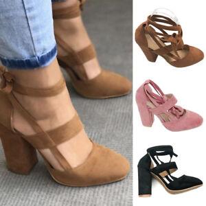 a65672b55e2 Women Suede Block High Heels Lace Up Ankle Strap Pumps Open Toe ...