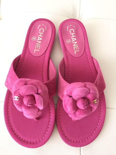 c7a036e41 Frequently bought together. 2016 CHANEL PINK CC CAMELLIA FLOWER SUEDE FLIP  FLOP ...