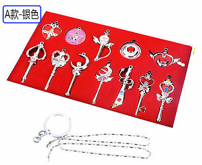 Sailor Moon Metal Keychain Necklace Pendant Collection Set with  Box